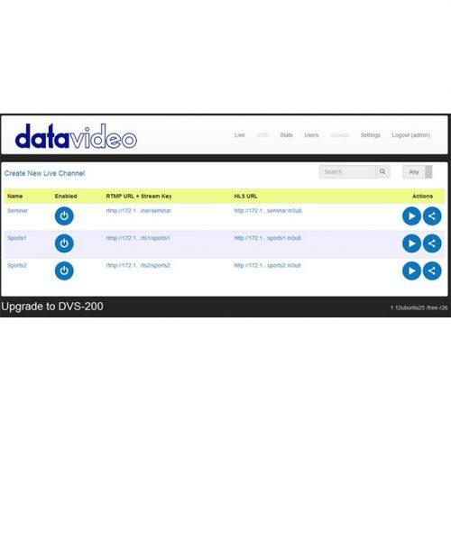 نرم افزار ارسال ویدئو از شبکه Datavideo DVS-100