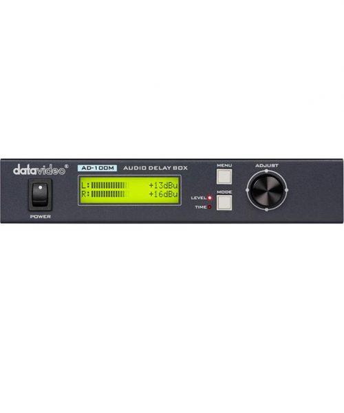 تاخیر دهنده صدا با ورودی میکروفون دیتاویدئو مدل AD-100M  <br> <span style='color:#949494;font-size:11px; class='secondary'> Datavideo AD-100M Audio Delay Box with Microphone Input </span>