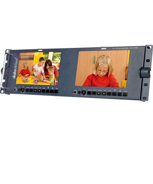 مانیتور 2 در 7 اینچ رکمونت HD دیتاویدئو مدل TLM-702HD  <br> <span style='color:#949494;font-size:11px; class='secondary'> Datavideo TLM-702HD 2 x 7 HD/SD TFT LCD Monitor </span>